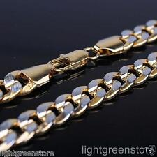 Mens 2-Tone 18K Yellow/White Gold Filled Curb Chain Necklace GF Jewelry