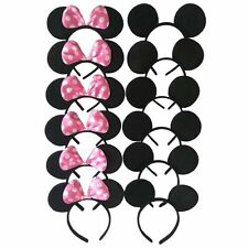 12 pcs Mickey Minnie Mouse Ears Solid Black & Pink Bow Headband Birthday Party