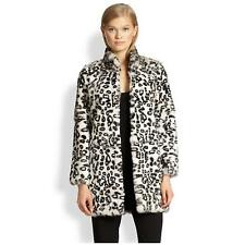 NWT! $1295 Haute Hippie Leopard Print Rabbit Fur Coat Jacket White Black, XS