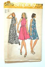 5675 Simplicity Sewing Pattern  Tent Dress SIZE 14 Miss Vintage 1970's