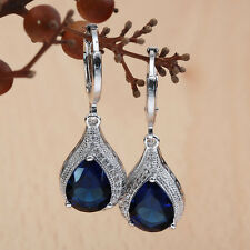 Teardrop Sapphire 925 Sterling Silver Dangle Earring Hoop Women Fashion Jewelry