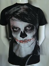 Zombie Goth Skull face Graphic T shirt with Lace up Lips and Real Nose Ring M