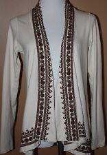 LUCKY BRAND Ivory Brown Embroidered LS Jacket S Cotton Boho Hippie Chick