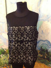 MODA INTERNATIONAL XL BLACK SHEER LACE FLORAL OVERLAY LINED ZIP SLEEVELESS TOP