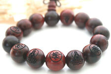 Rare Huge 20MM Wood Tibetan Buddhist Buddha Prayer Bead Mala Bracelet