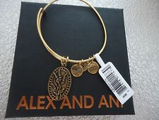 Alex and Ani Because I Love You AUNT II Russian Gold Bangle New W/ Card & Box