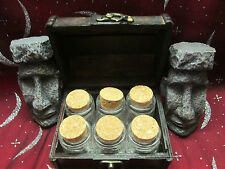 6 SPELL POTION GLASS OCTAGON BOTTLES CRYSTAL CLEAR REAL WOOD CHEST BOX GIFTS