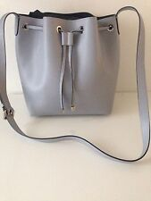 Grey Blue Saffiano Coccinelle Bucket Tote Bag