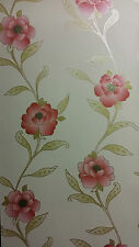 Adele Red Cream Gold Glitter Floral Textured Vinyl Feature Wallpaper