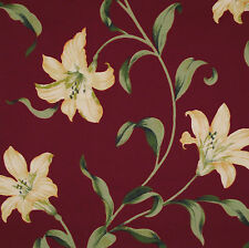 FABRIC FLASH SALE. 0.6M STYLE FURNISHINGS LILY WINE FABRIC.100% COTTON TEXTILES.