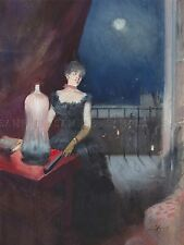 JEAN LOUIS FORAIN FRENCH STANDING WOMAN FAN OLD ART PAINTING POSTER BB5847A