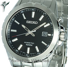 Mens SEIKO KINETIC BLACK FACE WITH STAINLESS STEEL BRACELET SKA697P1