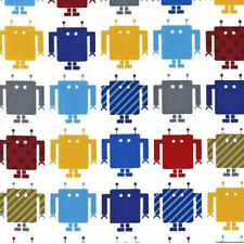 Five YARDS-Funbot Robot Robots Boy Cute Fabric Robert Kaufman 13959-204 Primary