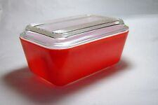 Vintage Pyrex Bright Red Friendship Oblong Refrigerator Dish Red  #0502 w/ Lid