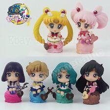 6pcs Sailor Moon Ice Cream Mars Mercury Chibi Saturn Neptune 5cm PVC Figure NB