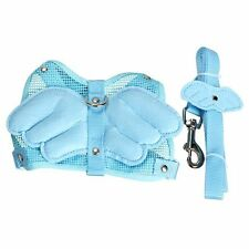 Blue Adjustable Angle Wing Rabbit Ferret Pig Harness Leash Lead Strap Nylon BF