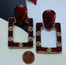 HUGE VTG 80s Door Knocker Holiday Earrings Burgundy Wine Scarlet Enamel Crystals