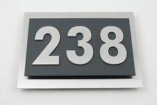 Hausnummer Edelstahl Anthrazit Ral 7016 Design Verona V2A 3-stellig 0-9 a-h A-H