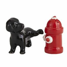 DOG & FIRE HYDRANT SALT & PEPPER SHAKERS, NEW IN BOX, CERAMIC HOUSE WARMING GIFT
