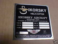 Sikorsky Helicopter Aircraft Data Plate 4 Vintage. Acid Etched Stainless Steel