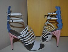 NIB $1,650 FENDI Crocodile & Leather Cage Strappy High Heel Sandal Shoe Sz 36.5