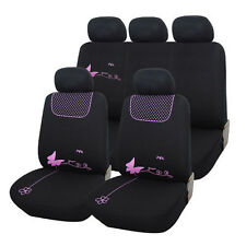 TRUYOO Pink Butterfly 9PC Universal Car Vehicle Seat Cover Protector Set