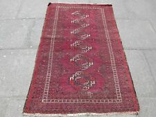 Antique Hand Made Oriental Afghan Baluch Wool  Red Rug 172x110cm