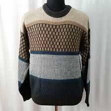 Saturdays Surf NYC Men's Blue Brown White Vintage Crew Geometric Sweater XL