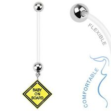Baby on Board Navel Belly Button Ring Surgical Steel