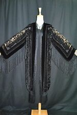 Art to Classic Black Burnout Velvet Fringe Opera Duster Coat Kimono  Jacket Maya