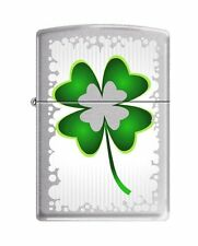 Zippo 3501, 4 Leaf Clover-Luck, Brushed Chrome Finish Lighter, Full Size
