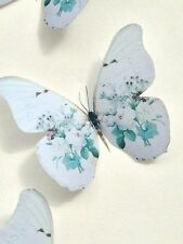 4 Shabby Chic White Vintage Rose 3D Butterflies Butterfly Decals Decorations