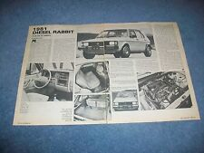 """1981 Volkswagen Diesel Rabbit Vintage Info Article """"A Car for All Reasons"""""""