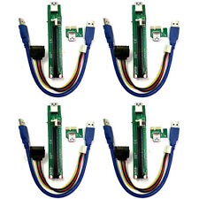 4-Pack Slim PCI-E Extension 1X to 16X  GPU Riser Card Adapter USB 3.0 PCIe