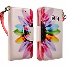 For Samsung Galaxy Ace Style Stardust Leather Flip Wallet Case Colorful Flower