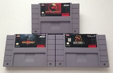 Super Nintendo SNES Mortal Kombat 1 + 2 + 3 Video Game Cartridges
