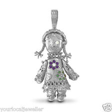 Sterling Silver CZ Ragdoll Movable Doll Pendant 10.4g *BRAND NEW* Present / Gift