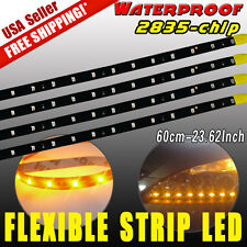 4X 60CM Waterproof Flexible Strip Car Motorcycle LED Yellow Lights 2835 SMD 12V
