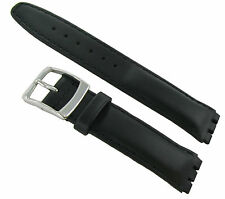 17mm Genuine Oiled Leather Padded Stitched Black Watch Band Fits Swatch