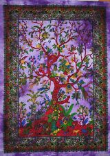 Indian Wall Hanging Tree Of Life Purple Batik Tapestry Decorative Vintage W 22 A