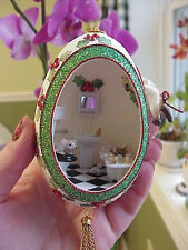 REAL Hand Decorated Goose Egg Christmas Ornament Vintage Hagen Renaker Mouse/Cat