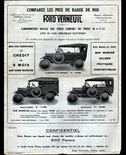 "VERNEUIL (58) CONCESSIONNAIRE AUTOMOBILE FORD ""Ets PONTVIANNE"" Tract Tarifs 1927"