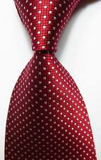 New Classic Checks Red White JACQUARD WOVEN Silk Men's Tie Necktie