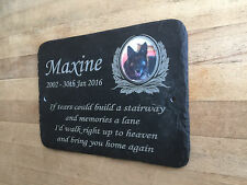 Keepsake Pet Photo Memorial Slate Plaque Grave Marker - Add Message & Photo