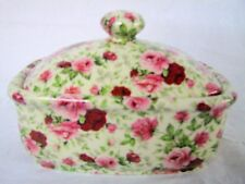 Pink summertime vintage chintz design butterdish by Heron Cross Pottery