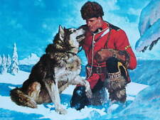 Canadian Mountie RCMP with Dog in snow by Arnold Friberg