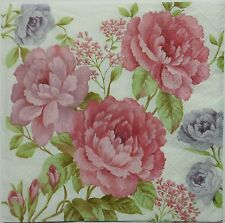 ROSES 2 individual LUNCH SIZE paper napkins for decoupage 3-ply