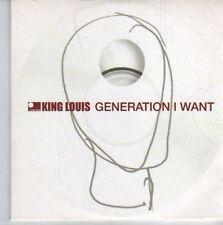 (DE461) King Louis, Generation I Want - 2001 DJ CD