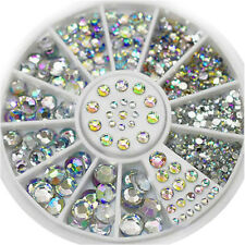 1 Box Nail Art Rhinestones Glitter Diamond Gems 3D Tips DIY Decoration Wheel FG