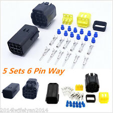 5Kit 6 Pin Way Amp Sealed Waterproof Electrical Wire Connector Plug Terminal Set